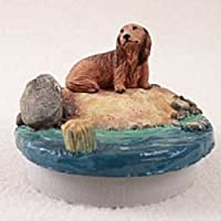 "Dachshund LonghairedレッドCandleトッパーTiny One "" A Day on the beach """