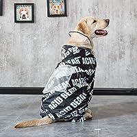 [実りの秋]レインコート 犬 ポンチョ 中型犬/大型犬 帽子付き 字母柄 ポケット フルカバー 軽量 雨の日 お散歩 お出かけ 梅雨対策 防水 通気性 着脱簡単 雨具 雨合羽 かわいい オシャレ ペット用品 ブラック 6XL