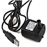 Driew 3W DC 3.5-9V USB Water Pump Power Cord, Solar Mini Submersible,Brushless,Waterproof (USB Water Pump)