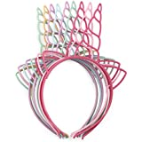 Pack of 12 Plastic Unicorn Headbands for Girls Teens Toddlers Children Party Hairbands (Spring Colors-12pcs)