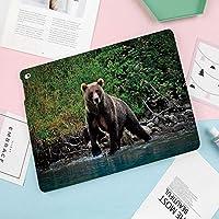 新型iPadケース スマートカバー アイパッドケース タブレットカバー プロ10.5 iPad Pro 10.5 オートスリープ機能 スタンド付き ダイアリー 手帳型 ブ(モデル番号:A1701,A1709)アラスカ湖のグリズリーヒグマ手つかずの森林ジャングル野生動物画像装飾