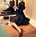 efficient (エフィシェント) SHN04-BLK-L 女の子 レディース スリム 細 結婚式 入園式 ワンピース フォーマル スカート スーツ ママ 人気 大きい サイズ 服装 タケ 切り替え オールシーズン ファッション 韓国風 春 通学 レディー 服 パーティー ドレス 袖あり 40代 50代 レース 体型 カバー スタイル シースルー aライン 膝丈 長袖 小さめ 黒系 リボン キャバ 大人 黒 ブラック L