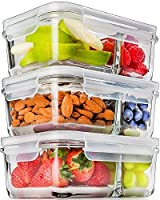 [3 Pcs] Glass Meal Prep Containers Glass 2 Compartment - Glass Food Storage Containers - Glass Storage Containers with Lids - Divided Glass Lunch Containers Food Container - Glass Food Containers 740ml