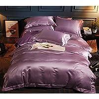 GAIHU ウォッシュド刺繍コットンソリッドカラーベッドリネンキット寝具 (4点セット - カラーオプション)