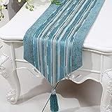 テーブルランナー ホームデコレーション 北欧 工芸品 おしゃれ 結婚式 パーティー エレガント モダン シンプル (Color : Blue, Size : 33*230cm)