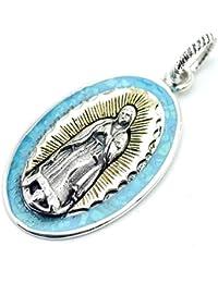 [シルバーワン] シルバー925 グアダルーペの聖母 マリア ターコイズ ペンダントトップ ネックレス メンズ bo (金ゴールド 青ブルー)