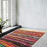 Zahra Bohemian Colorful Chindi Area Rug- Hand Woven Multi Color Cotton Home Décor Vibrant Chindi Area Rugs