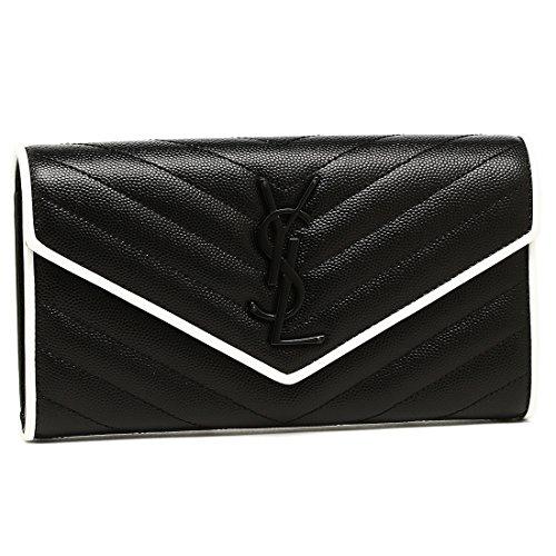 [サンローラン] 長財布 レディース SAINT LAURENT PARIS 372264 BOWC8 1095 ブラック ホワイト [並行輸入品]