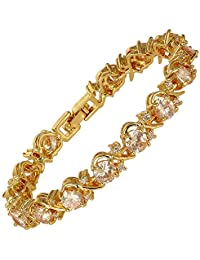 """RIZILIA Blossom Tennis Bracelet & Round Cut CZ [6 Colors Available] in Yellow Gold Plated, 7"""""""