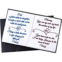 Premium Embroidered Wedding Day Handkerchiefs For Mom & Dad | Mother & Father of the Bride Keepsake Gift