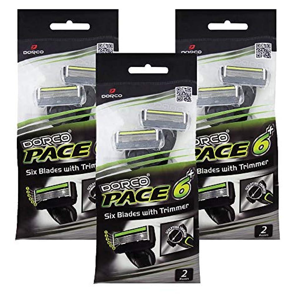 ドルコ Pace6 Plus 枚刃カミソリ トリマー付き:Dorco メンズT字シェーバー6本入り、使い捨て、肌に優しい深剃り [並行輸入品]
