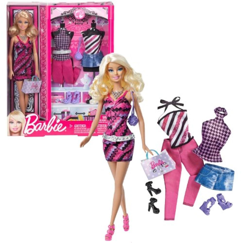 Mattel Year 2012バービーピンクSeries 12インチ人形 – バービー( bbx43 ) with 3の衣装、3ペアの靴、ベルトのセットとPurse