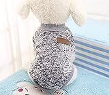 【全5サイズ】ペットウェア 犬猫用 ドッグウェア お洒落 セーター 綿製 暖かい 防寒 コート Tシャツ ペット用品 小中型犬服 グレー S