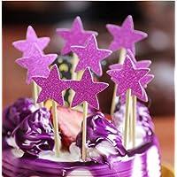 HuaQingPiJu-JP 5つ星のスターベーカリーデザートパーティーバースデーペーパーケーキデコレーション挿入カード(ローズレッド)