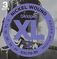 D'Addario ダダリオ エレキギター弦 ニッケル Blues/JazzRock .011-.049 EXL115-3D 3set入りパック 【国内正規品】
