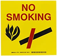 Brady 77217 Self-Sticking Label Bradycone Pictogram Labels Black/Red On Yellow 8 1/4 Height x 8 1/4 Width Legend No Smoking (W/Picto) Pictogram [並行輸入品]