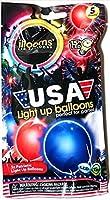 Illooms USAレッドホワイトブルーLED Light Up Balloons–5バルーンのバッグ