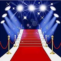 ハリウッドテーマ ステージ照明 レッドカーペット写真背景幕 誕生日 大人 子供 パーティー ウェディング フォトスタジオ ポートレート 背景 10X10フィート