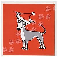 Janna Salak Designs犬–かわいいグレーItalian Greyhoundとサンタハット–グリーティングカード Set of 12 Greeting Cards