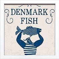 【アートフレーム】サインフレーム デンマーク フィッシュ ゆうパケット 絵画 インテリア 壁掛け アート ポスター フック 海 ピカソ 額縁