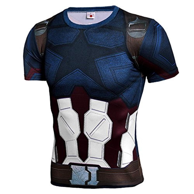 メンズ Tシャツ半袖 キャプテン?アメリカ 吸汗速乾 コンプレッションウェア パワーストレッチ アンダーウェア