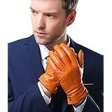 メンズ 男性用 本革 羊革 手袋 スマホ対応 手作り 運転 ドライブ グローブ ロングフリース ライニング (S, カーキ(タッチパネル対応無))