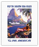 パンアメリカンは南洋諸島にあなたを飛行します - パン・アメリカン航空(PAA) - ビンテージな航空会社のポスター によって作成された ポール・ジョージ・ローラー c.1940s - キャンバスアート - 41cm x 51cm キャンバスアート(ロール)