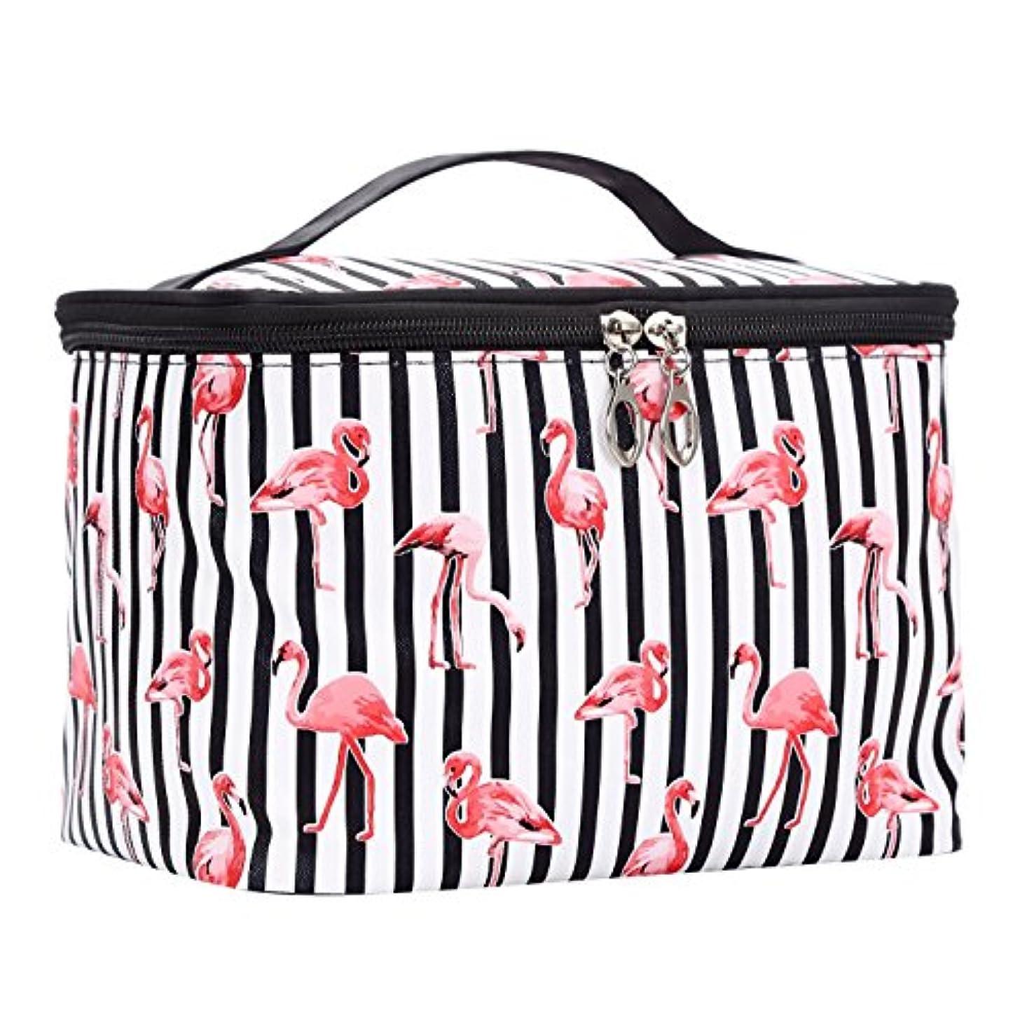 無意識郵便物安西HOYOFO 化粧ポーチ メイクバッグ バニティケース 小物入れ 旅行 折り畳み 大容量 機能的 フラミンゴ PU