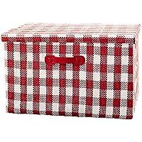 ERRU- ストロークロスアート衣類収納ボックスラージフォールドグリッドパターンロッカーフィニッシングボックス収納バスケット 仕上げボックス ( 色 : 赤 , サイズ さいず : S-39*27*26cm )
