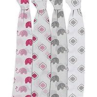 Bacati Elephants Set of 4 Muslin Swaddling Blankets Pink/Grey [並行輸入品]