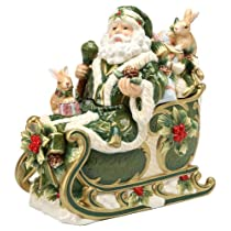 Cosmos Gifts 27.6cm Emerald Holiday Holly Santa Cookie Jar