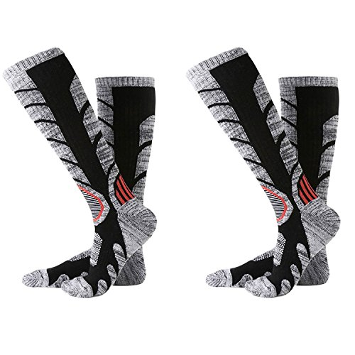 【TaoTech】アウトドア ソックス 登山 スキー スノーボード 用 ソックス 靴下 トレッキング 遠足 徒歩 レディース メンズ (L/ブラック(2足組))