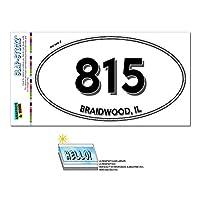 815 - ブレードウッド, IL - イリノイ州 - 楕円形市外局番ステッカー