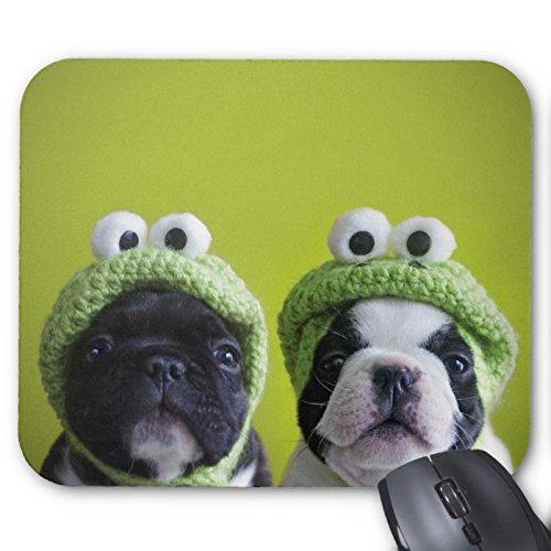 Recaso(レカソ)カエルの帽子を持つフレンチ・ブルドッグの子犬 マウスパッド 敷き おしゃれ オフィス用 滑り止め ...