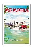メンフィス、テネシー州 - ユナイテッド航空 - パドルホイールボート - ビンテージな航空会社のポスター によって作成された ヘーゲル c.1970s - アートポスター - 76cm x 112cm