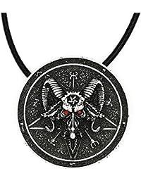 バフォメットペンダントネックレスアミュレットSabbatic Goat Horned God Pentacle Sigil Religious保護Talisma Wiccan Pagan 4016