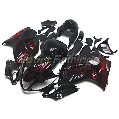 Sportfairings オートバイ 外装パーツセット 適合 スズキ Suzuki GSX-R1300 GSX-R GSXR 1300 Hayabusa 隼 2008 2009 2010 2012 2013 2014 2015 年 黒と赤の炎