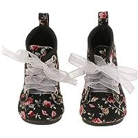 [ノーブランド品] 18インチアメリカンガール人形ブラック花柄レースアップブーツ靴アクセサリ