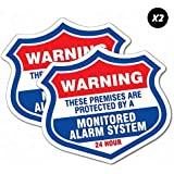 2 x Warning Protected Monitored Alarm Sticker