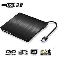 DVDドライブ 外付け DVDプレーヤー CDドライブ USB3.0 XP/WIN7/ VISTA/MAC/WIN10 OS対応 USB3.0記録型ドライブVCD/DVD/CD記録対応 超薄型 USBケーブル内蔵 PC外付けドライブ