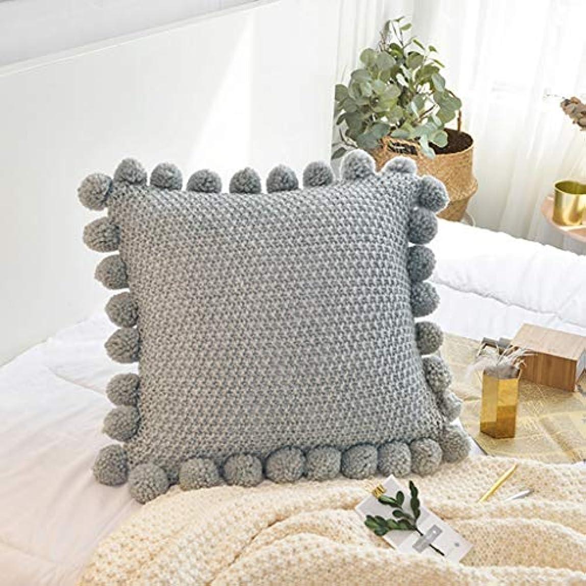 時代ストレッチ高音DYHOZZ クリエイティブクッション、綿ニット枕、無地のホームソファー、椅子枕55 cm×55 cm まくら (色 : A)