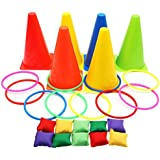AerWo Ring Toss Games Birthday Party Games for Kids with Multicolor Activity Rings, Colored Cones and Bean Bags