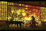 本格 イラスト 木製屏風【秋麗の間】四曲 H265xW390 アートパネル パネルアート アートボード アニメ 部屋 飾り インテリア 和風 ハンドメイド 伝統工芸 日本製 外国人 プレゼント【秋麗の間】