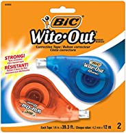 BIC Wite Out Ez Correction Tape - 12 m x 4.2 mm, Pack of 2 Correction Tapes