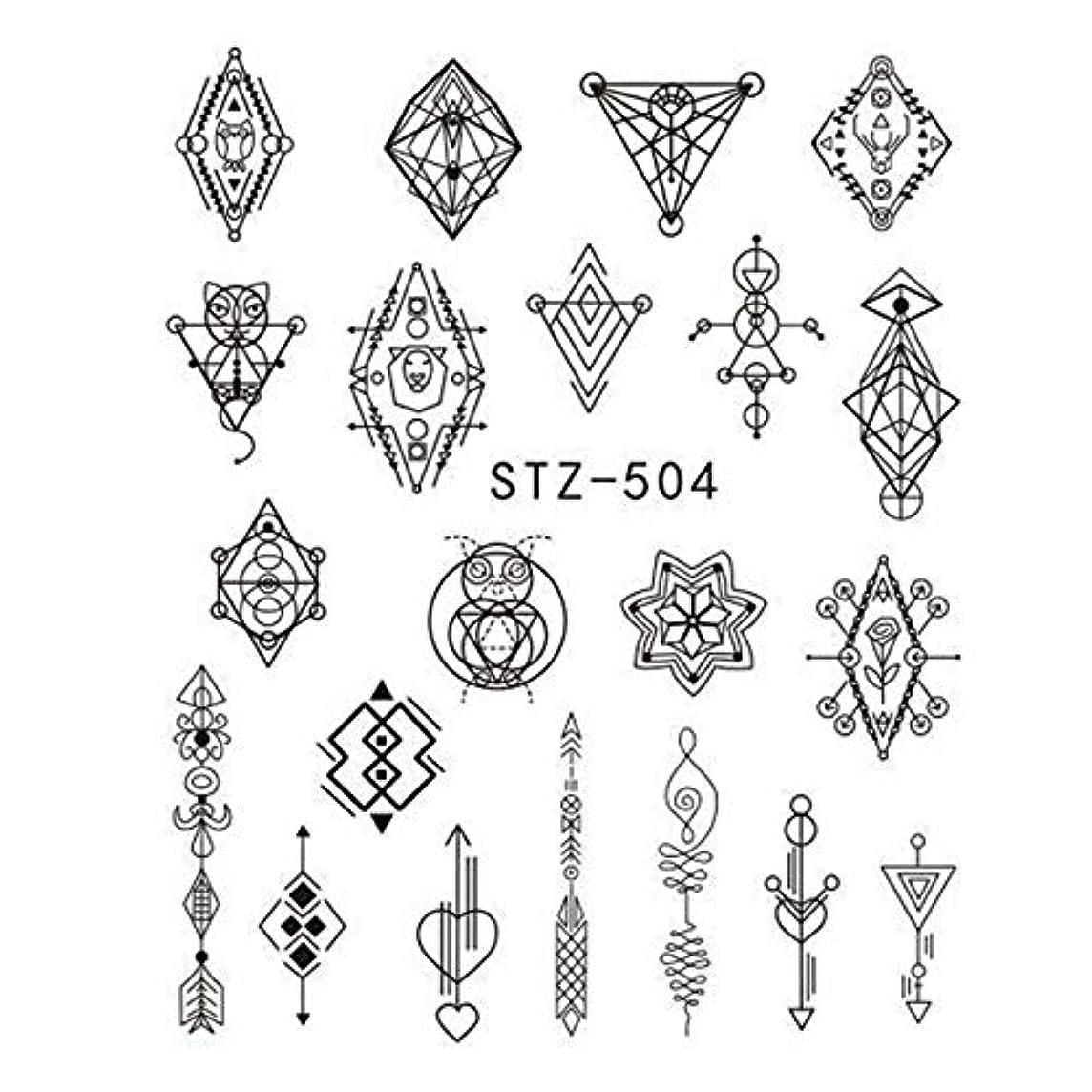 三角形パット甘やかすビューティー&パーソナルケア 3個DIYのファッション水転写アートデカールネイルステッカー(STZ500) ステッカー&デカール (色 : STZ504)