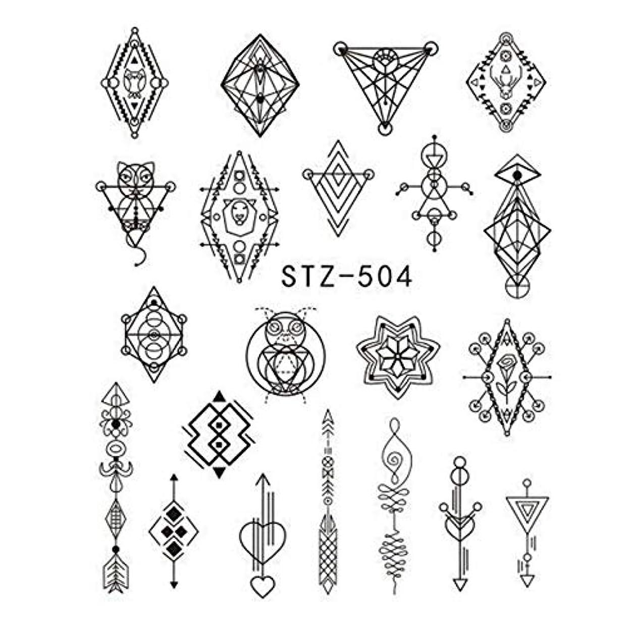 約親指合併ビューティー&パーソナルケア 3個DIYのファッション水転写アートデカールネイルステッカー(STZ500) ステッカー&デカール (色 : STZ504)