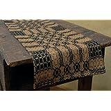 ブラックマスタードWoven Checkered Pattern Longテーブルランナー国プリミティブ飾り