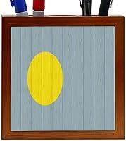 Rikki Knight Palau Flag on Distressed Wood Design 5-Inch Wooden Tile Pen Holder (RK-PH8766) [並行輸入品]