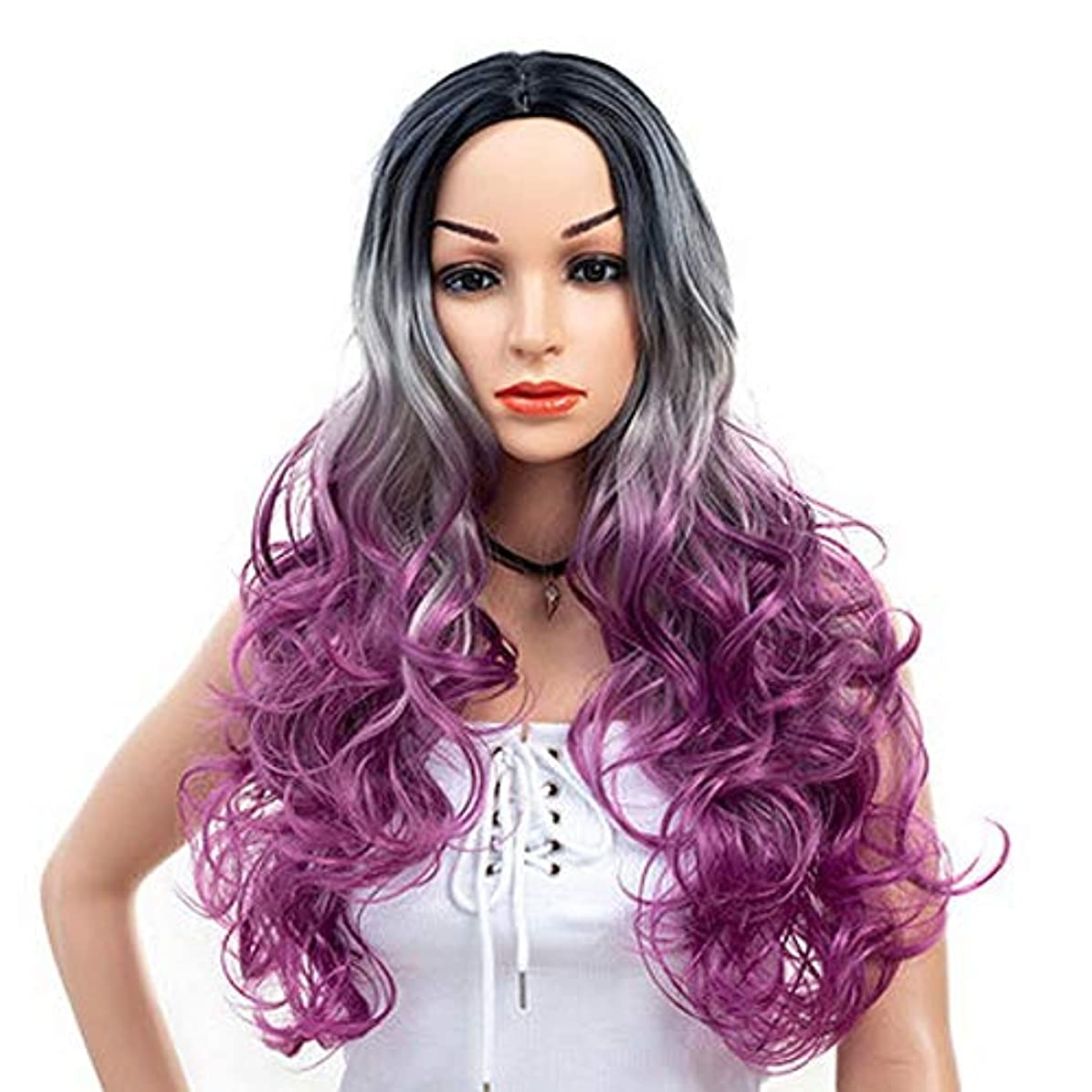 ユーモラス対話ブロック女性のための色のかつら長いウェーブのかかった髪、高密度温度合成かつら女性のグルーレスウェーブのかかったコスプレヘアウィッグ、女性のための耐熱繊維の髪のかつら、紫色のウィッグ26インチ