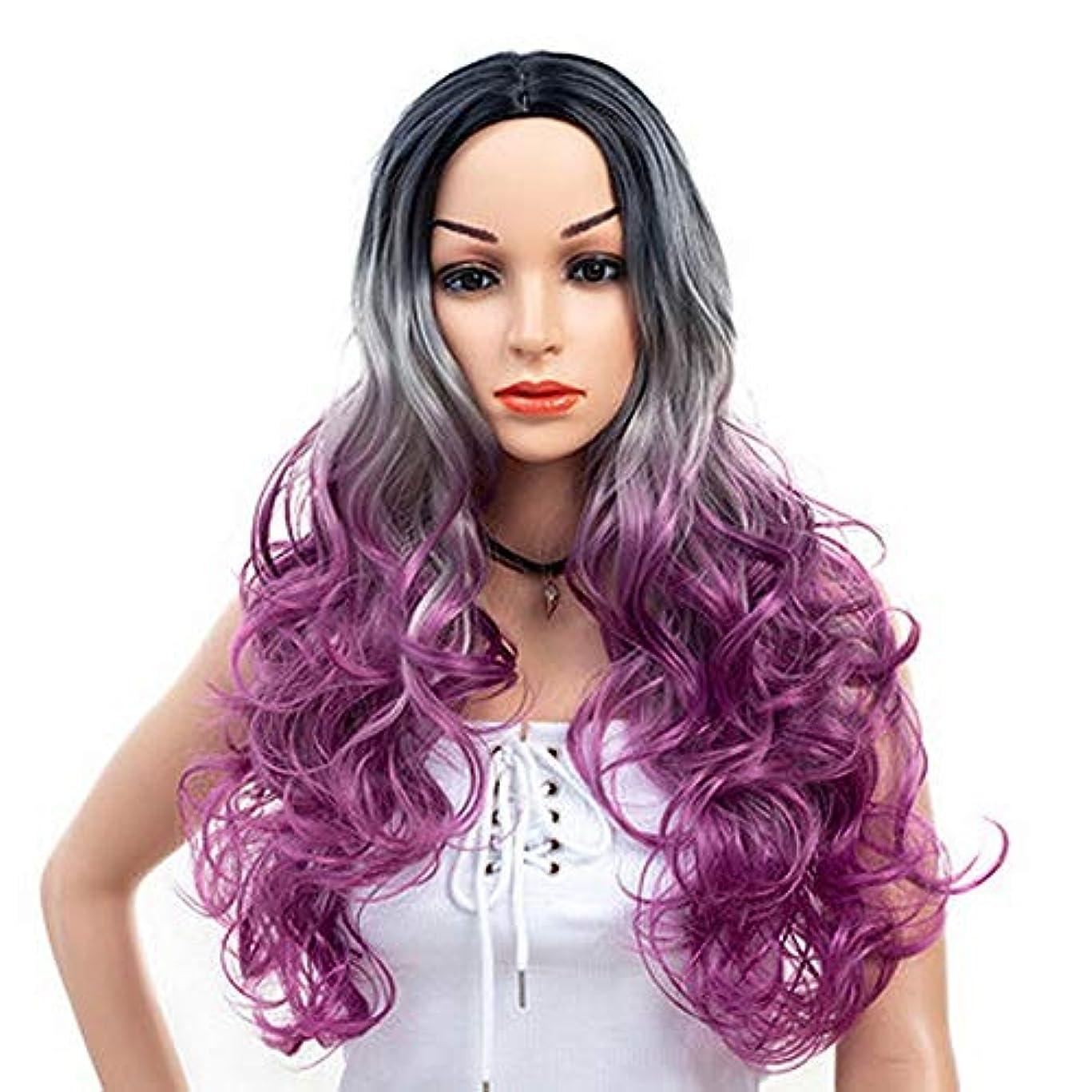 カウントガレージ不振女性のための色のかつら長いウェーブのかかった髪、高密度温度合成かつら女性のグルーレスウェーブのかかったコスプレヘアウィッグ、女性のための耐熱繊維の髪のかつら、紫色のウィッグ26インチ